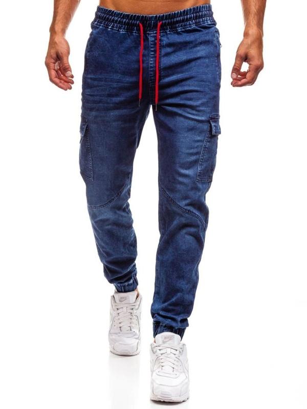 Чоловічі джинсові штани джогери темно-сині Bolf Y264