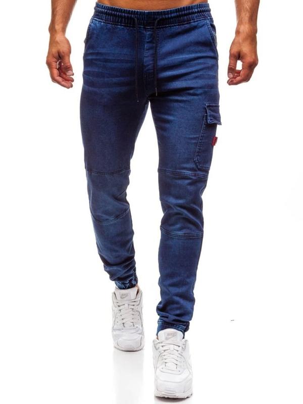 Чоловічі джинсові штани джогери темно-сині Bolf Y271