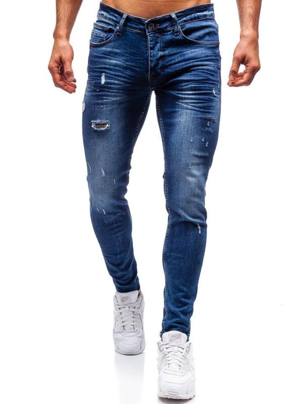 Чоловічі джинсові штани темно-сині Bolf 1016