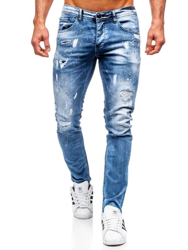 Чоловічі джинсові штани regular fit темно-сині Bolf 4013