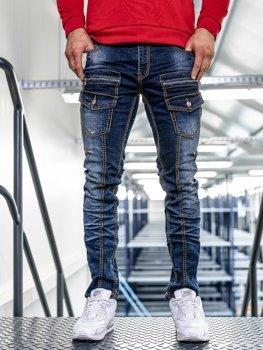Чоловічі джинсові штани slim fit темно-сині Bolf KA9917