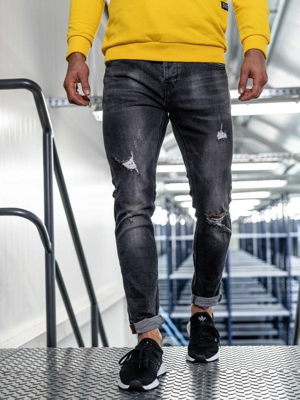 Чоловічі джинсові штани slim fit чорні Bolf KX313