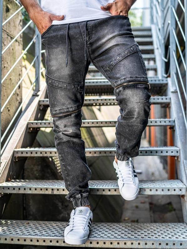 Чоловічі штаны джоггери джинсові чорні Bolf KA509