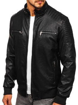 Чорна чоловіча куртка косуха Bolf 2001