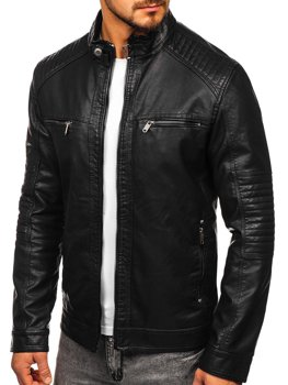 Чорна чоловіча куртка косуха Bolf 2002