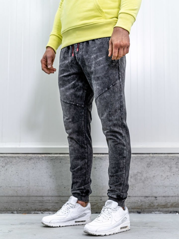 Штани джоггери чоловічі джинсові чорні Bolf KK1055