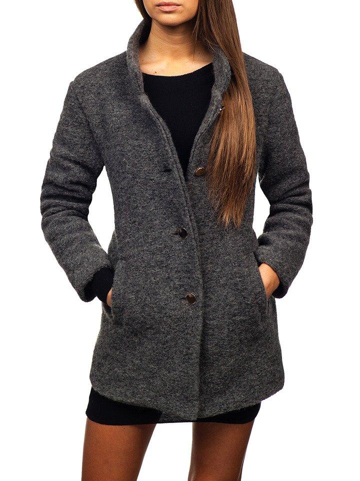 Жіноча пальто антрацитове Bolf 1950 СВІТЛО-ТЕМНО-СИНІЙ 55fc36481102f