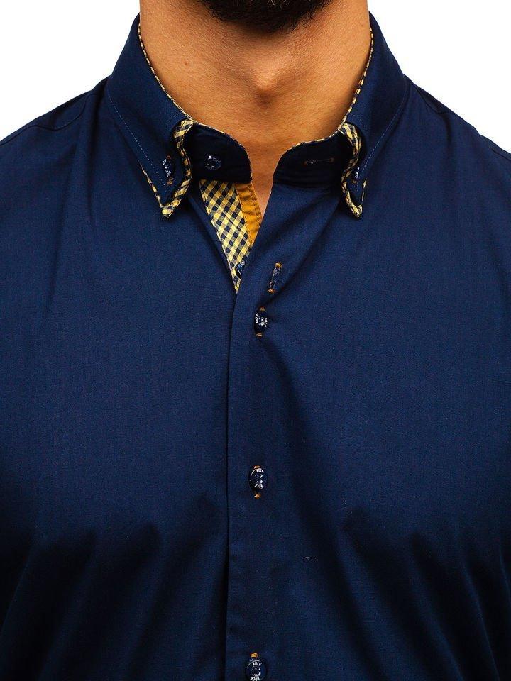 ... Чоловіча елегантна сорочка з довгим рукавом темно-синя Bolf 4708 ... ecfc1d709d511