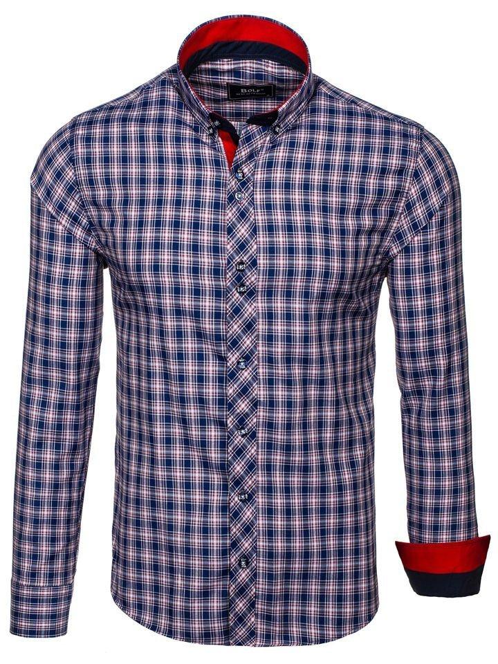 ... Чоловіча сорочка в клітку з довгим рукавом темно-синьо-червона Bolf 8835 5b6ef5c9f77ee