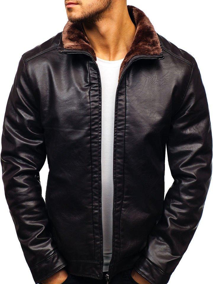 Чоловіча шкіряна куртка коричнева Bolf 82627 КОРИЧНЕВИЙ a2f15b9cfbddd