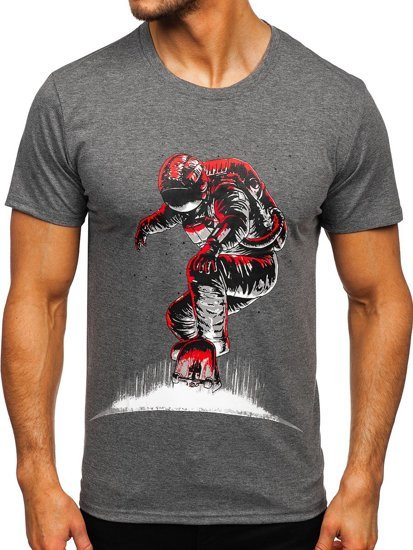 Антрацитова чоловіча футболка з принтом Bolf S10032