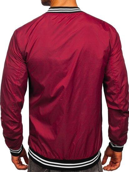 Бордова чоловіча демісезонна куртка бомбер Bolf M10298