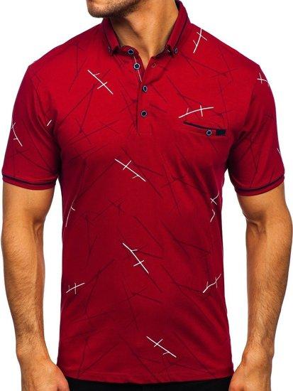 Бордова чоловіча футболка поло з принтом Bolf 192280