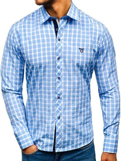 Елегантна чоловіча сорочка у клітину з довгим рукавом блакитна Bolf 4747
