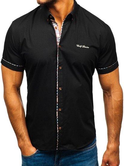 Чоловіча сорочка з коротким рукавом, чорна Bolf 5509-1