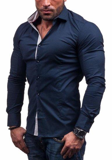Сорочка чоловіча N. Men 7185 темно-синя