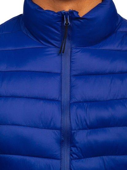 Темно-синя стьобана демісезонна чоловіча куртка Bolf 13007