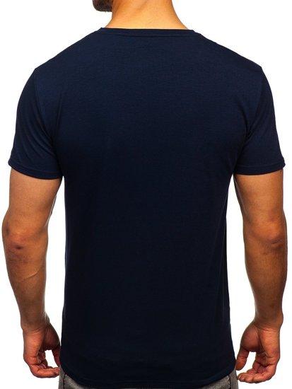 Темно-синя чоловіча футболка з принтом Bolf Y70002