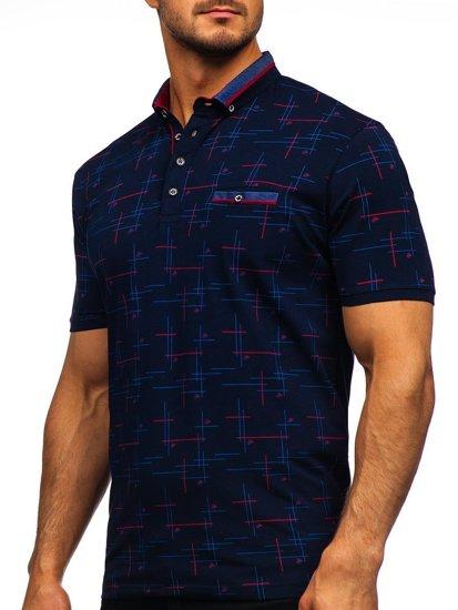 Темно-синя чоловіча футболка поло з принтом Bolf 192232