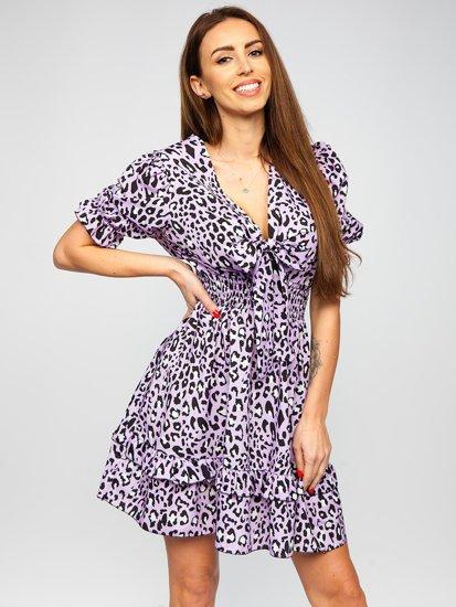 Фіолетова сукня жіноча з леопардовим принтом Bolf 6986