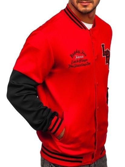 Червона толстовка-куртка чоловіча тонка бейсбольна з принтом Bolf B10158