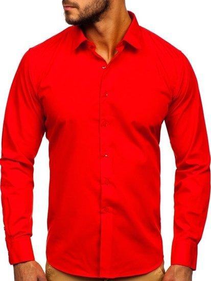 Чоловіча елегантна сорочка з довгим рукавом червона Bolf 0001