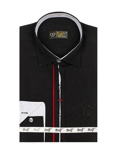 Чоловіча елегантна сорочка з довгим рукавом чорна Bolf 1769