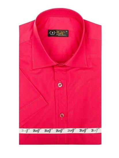 Чоловіча елегантна сорочка з коротким рукавом коралова Bolf 7501