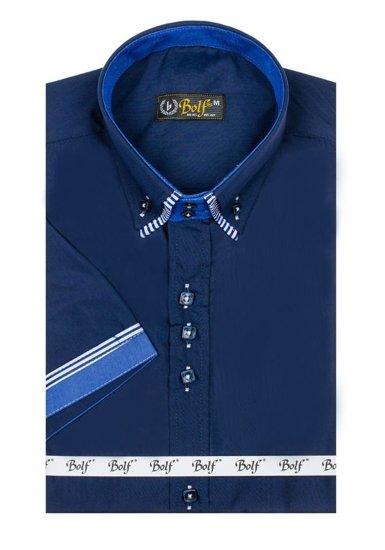 Чоловіча сорочка з коротким рукавом темно-синя Bolf 2911