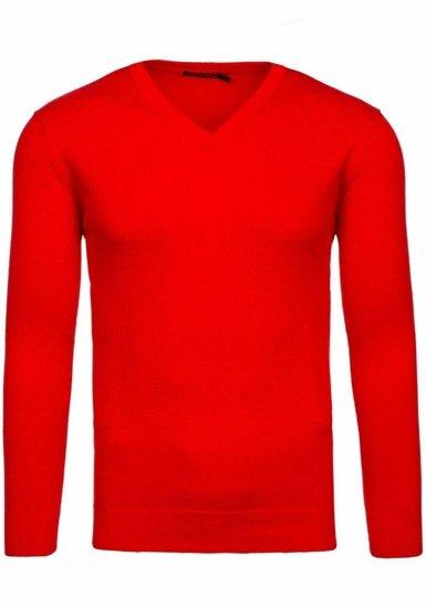 Чоловічий светр з v-подібним вирізом червоний Bolf 1813
