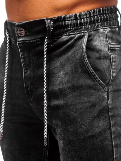 Чоловічі джинсові штани джоггери чорні Bolf KA1278