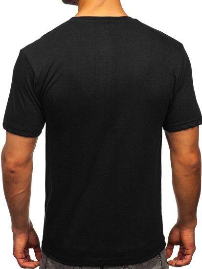 Чорна чоловіча футболка з принтом Bolf 14424