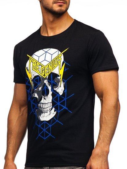 Чорна чоловіча футболка з принтом Bolf Y70002