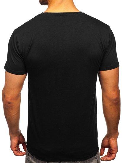 Чорна чоловіча футболка з принтом Bolf Y70011