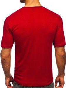Бордова чоловіча футболка з принтом Bolf 14424