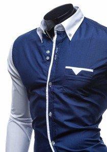 Елегантна сорочка з довгим рукавом темно-синя Bolf 5726
