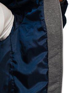 Темно-синій чоловічий повсякденний піджак з капюшоном Bolf 66