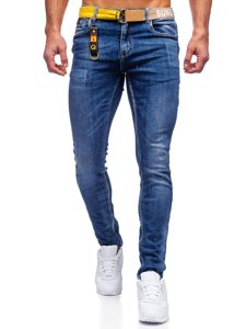 Темно-сині чоловічі джинси slim fit з ременем Bolf 80028W0