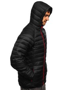Чорна стьобана демісезонна чоловіча куртка з капюшоном Bolf 13022